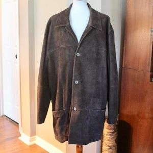 BROOKS BROTHERS BROWN LEATHER COAT